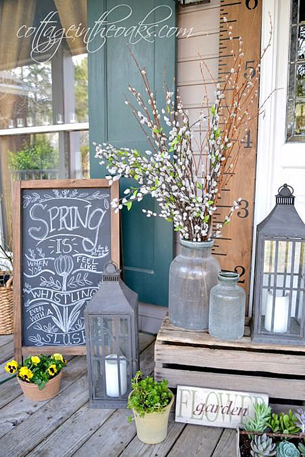 25 lanterns chalkboard and antique glass porchscape
