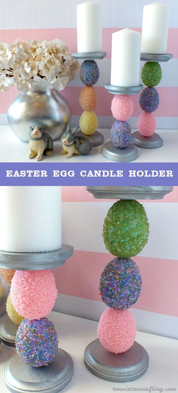 Beaded Easter Egg Candle Holders