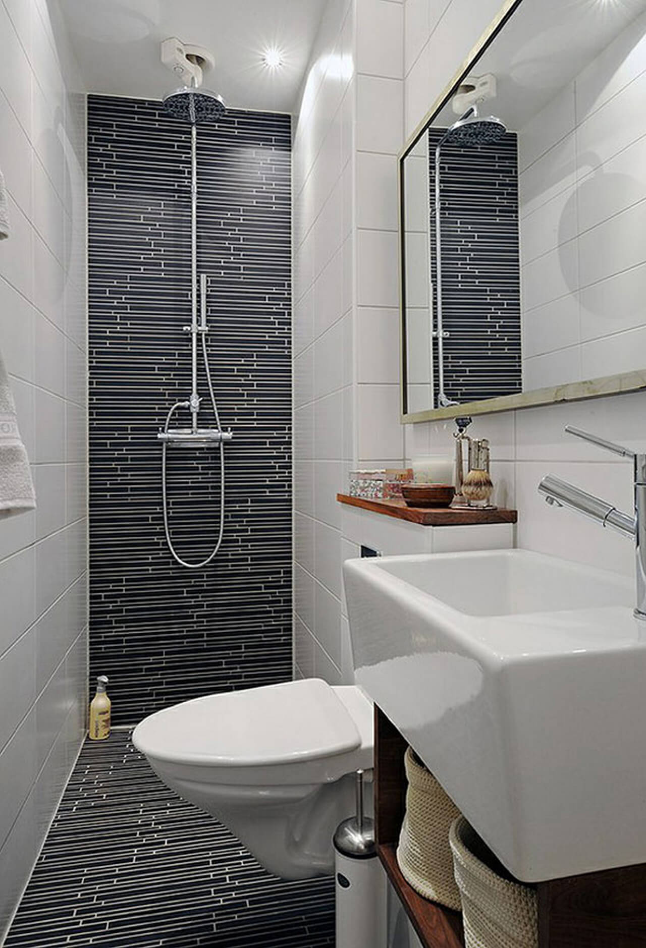 Wonderful Curtain Free Wet Room With Modern Tiles