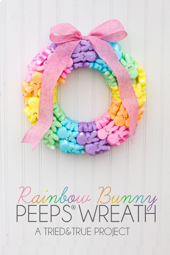 Peeps Bunny Rainbow Easter Wreath