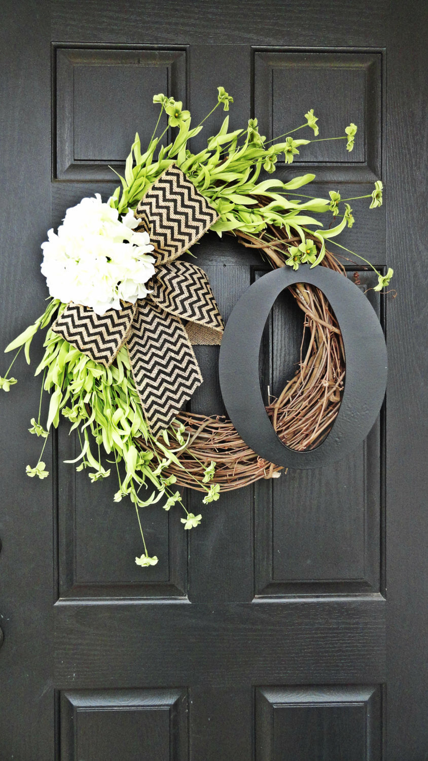 DIY Monogram Spring Grapevine Wreath