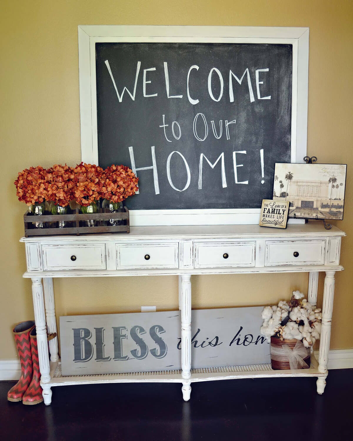 Cheerfully Distressed Chic Entry Table