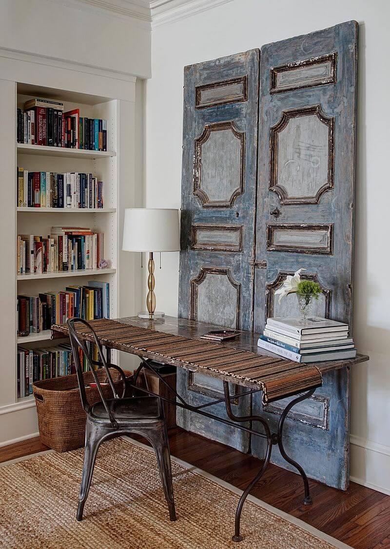 Dusky Blue French Panel Desk Backdrop