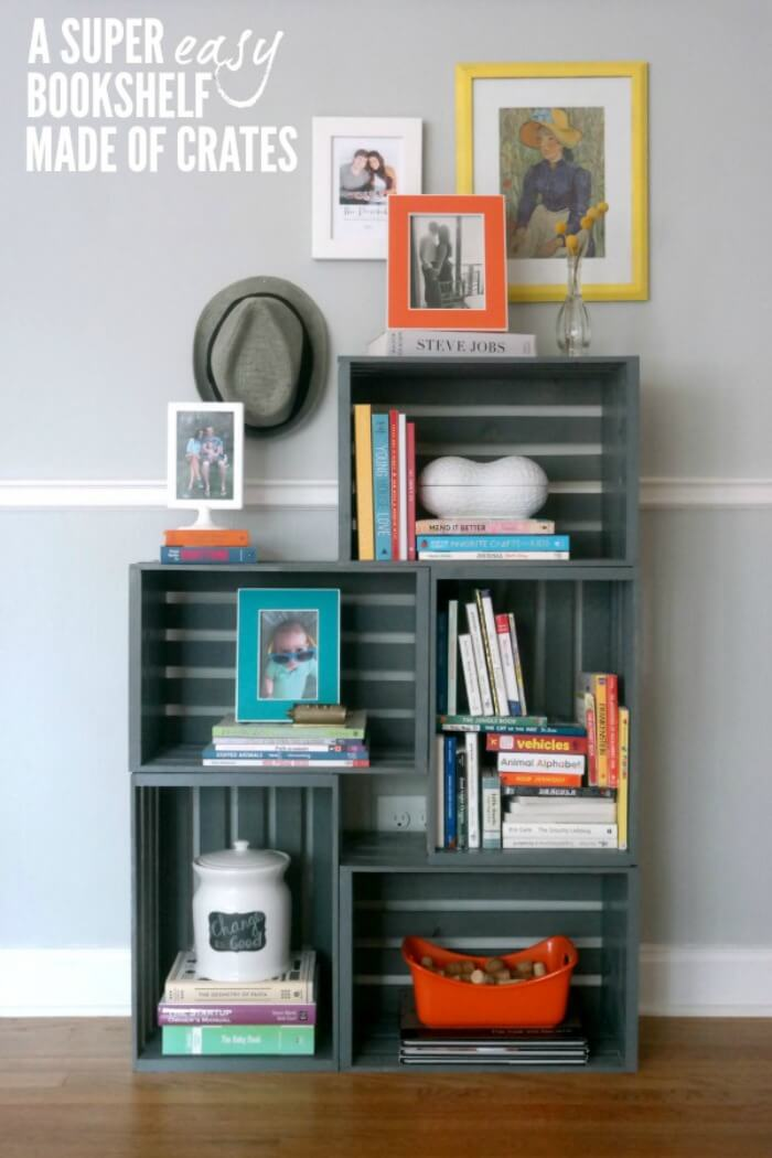 1 easy and simple stacked crate - Bookshelves Diy