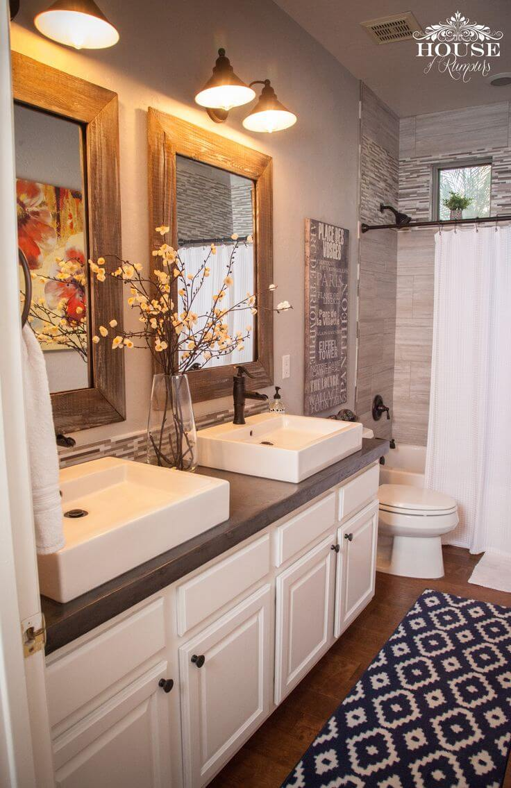 36 best farmhouse bathroom design and decor ideas for 2019 - How to layout a bathroom remodel ...