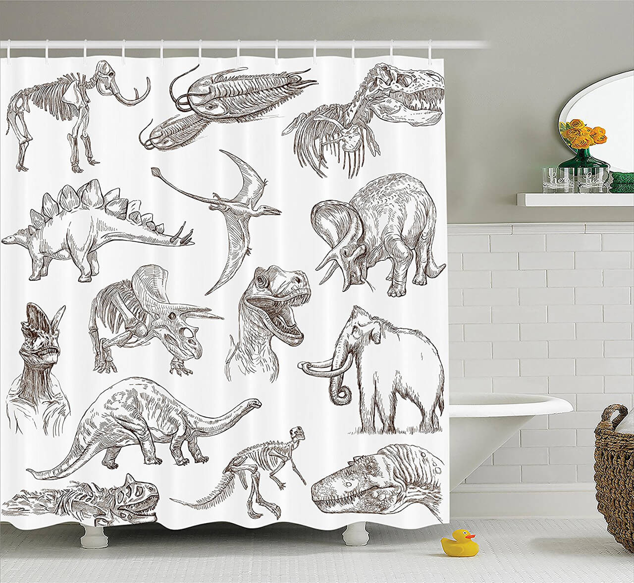 Dinosaur Sketch Curtain