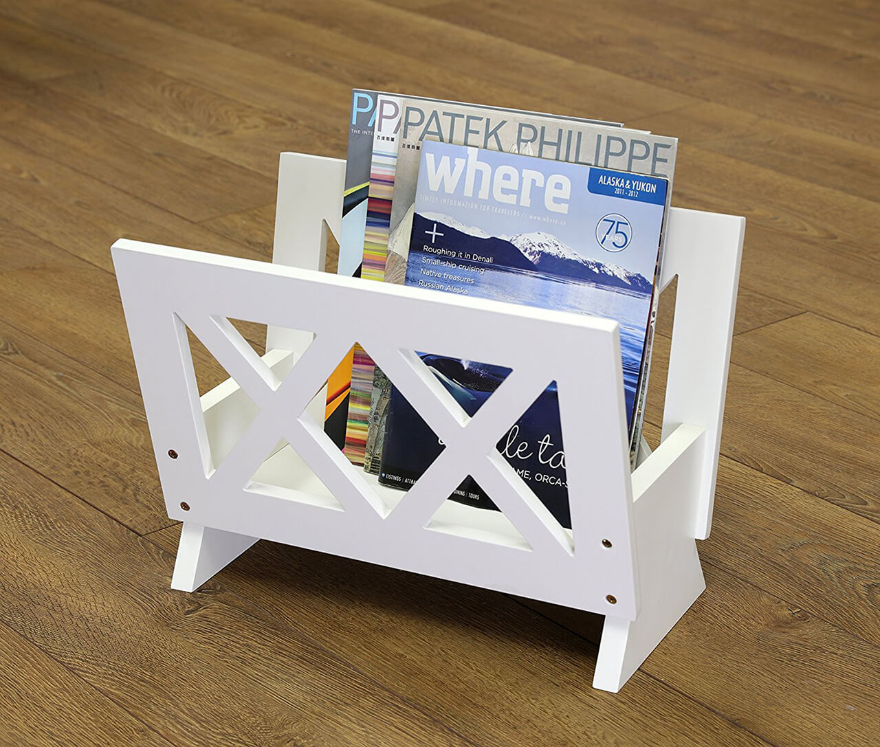 white wood bathroom magazine rack