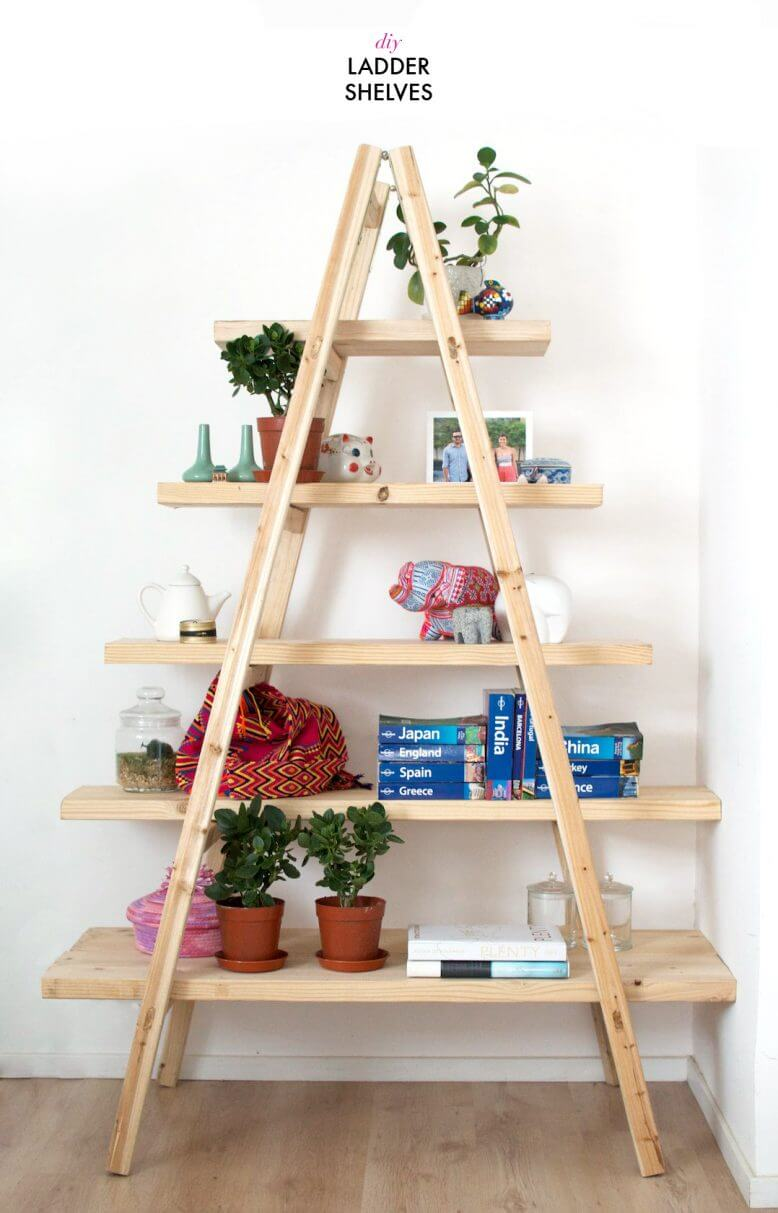 Exceptional Bookshelf Ideas Part - 8: Rustic A-Frame DIY Ladder Shelf