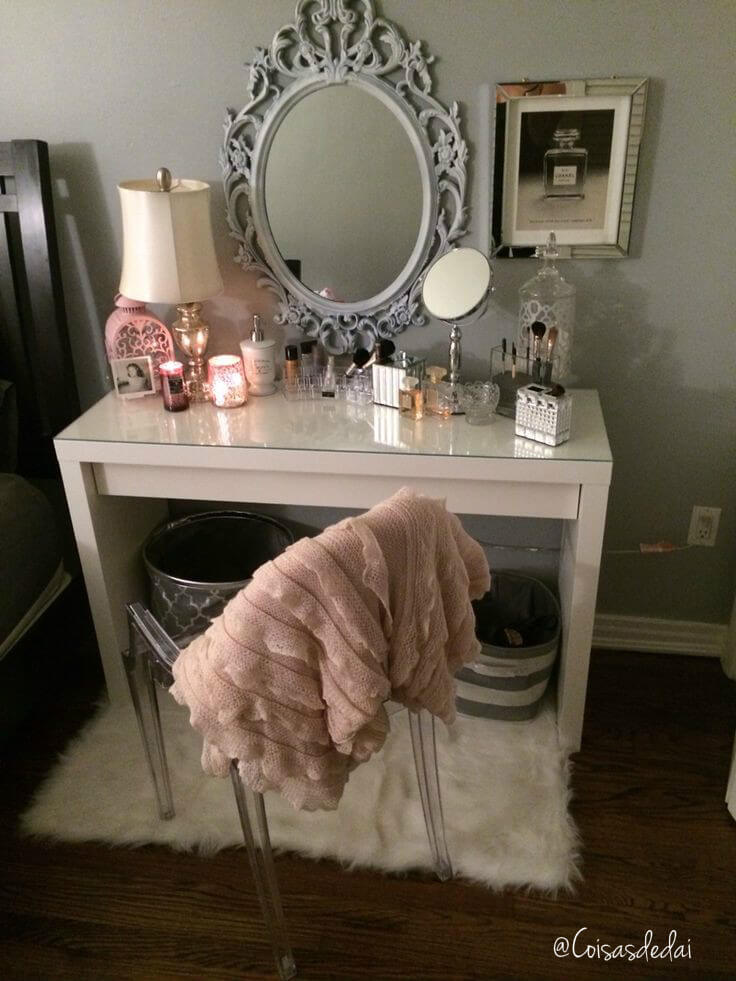 Simple Bedside Vanity with Vintage Touches