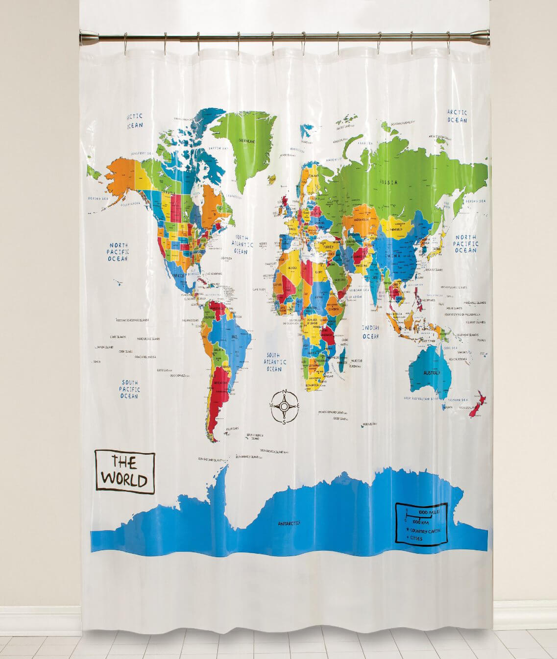 Display a World Map in the Bathroom