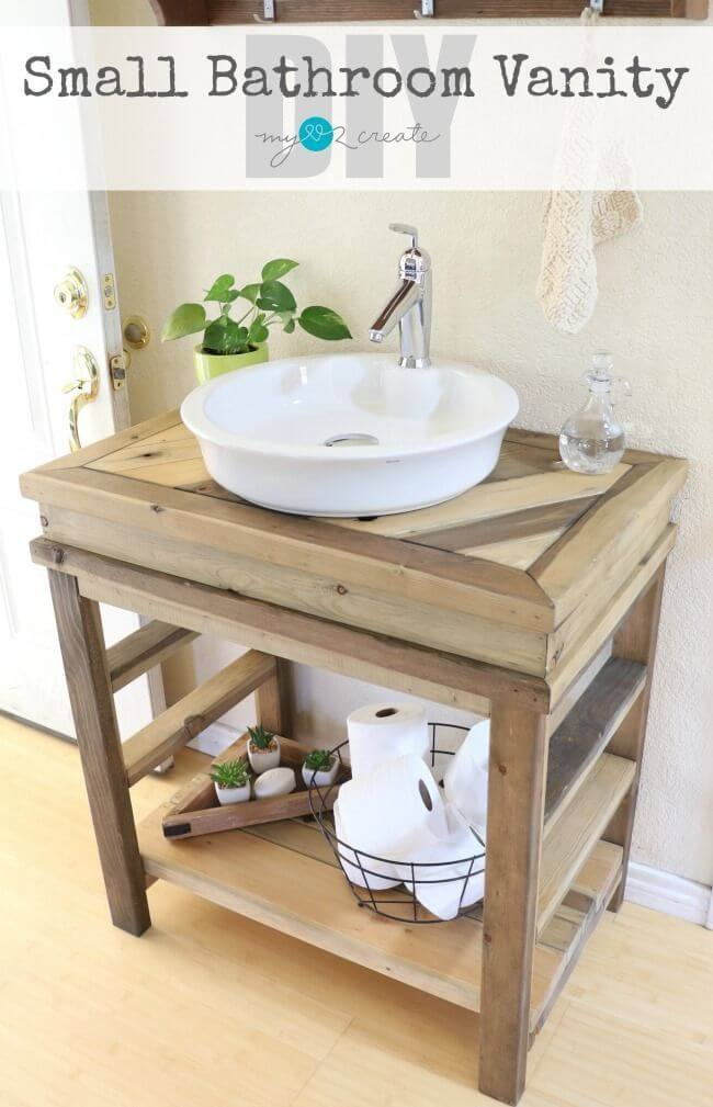 diy rustic wood bathroom vanity - Farmhouse Bathroom Vanity