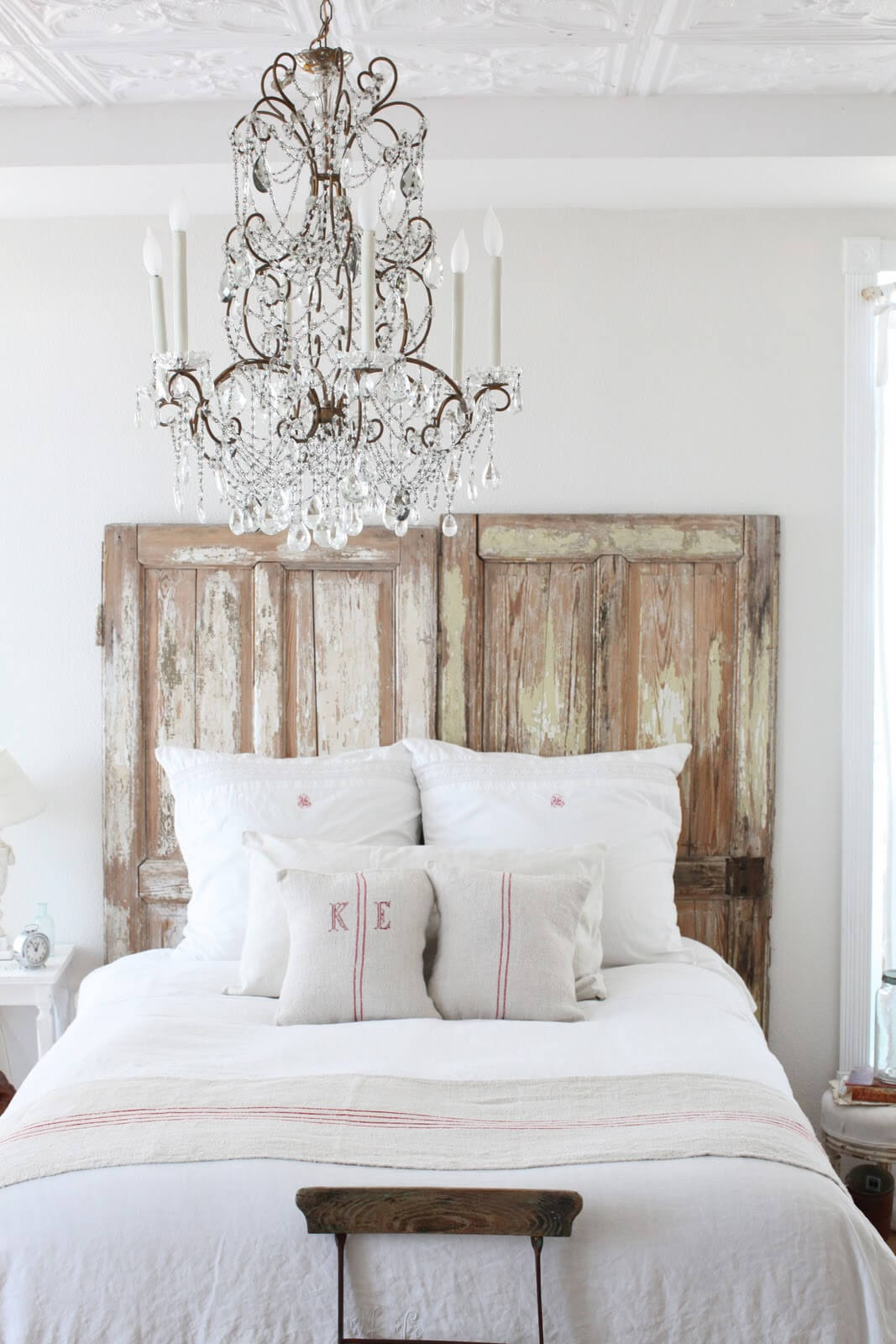 Clean, White Bedroom with Authentic Wood Backdrop