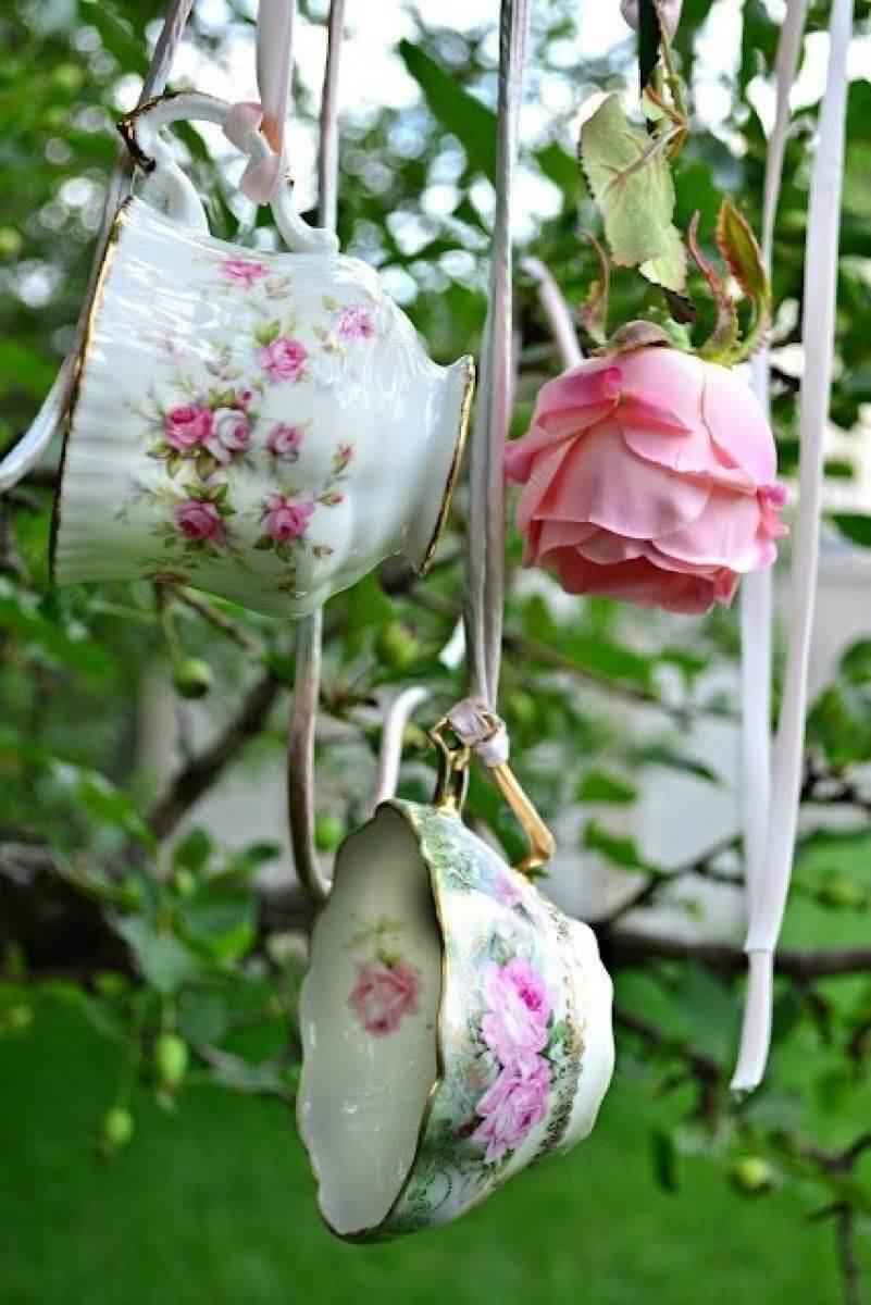 Pretty Antique Teacup Vintage Garden Decoration