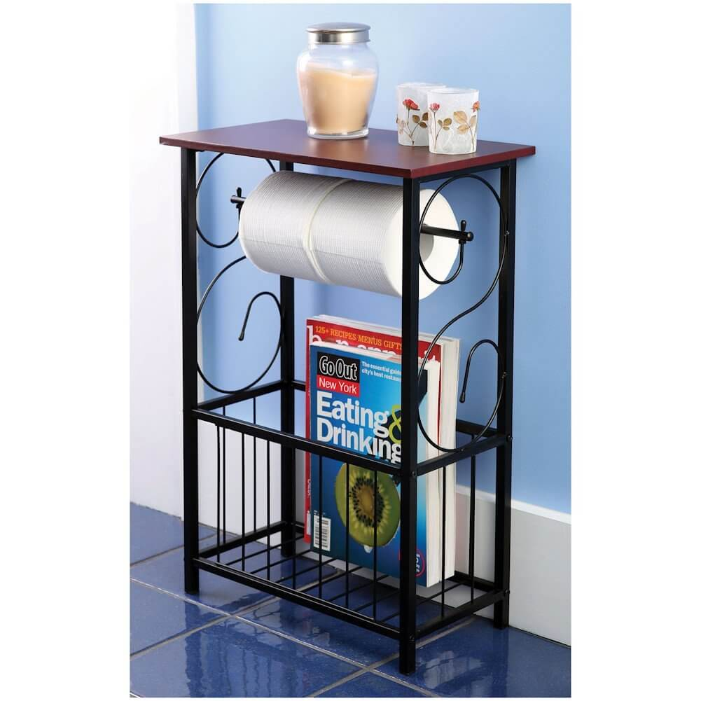 Scroll Design Bathroom Table and Magazine Rack