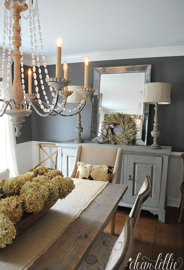37 best farmhouse dining room design and decor ideas for 2017 for Dining room ideas grey