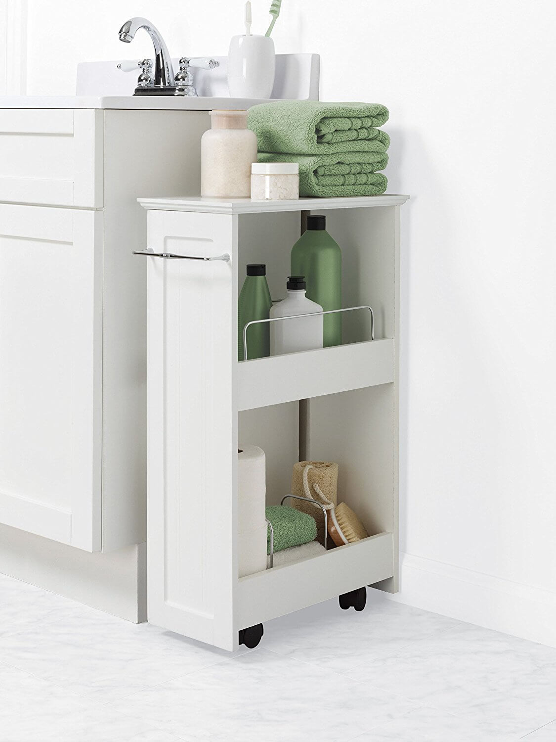 Zenna Home Slimline Rolling Storage Shelf & 26 Best Bathroom Storage Cabinet Ideas for 2018