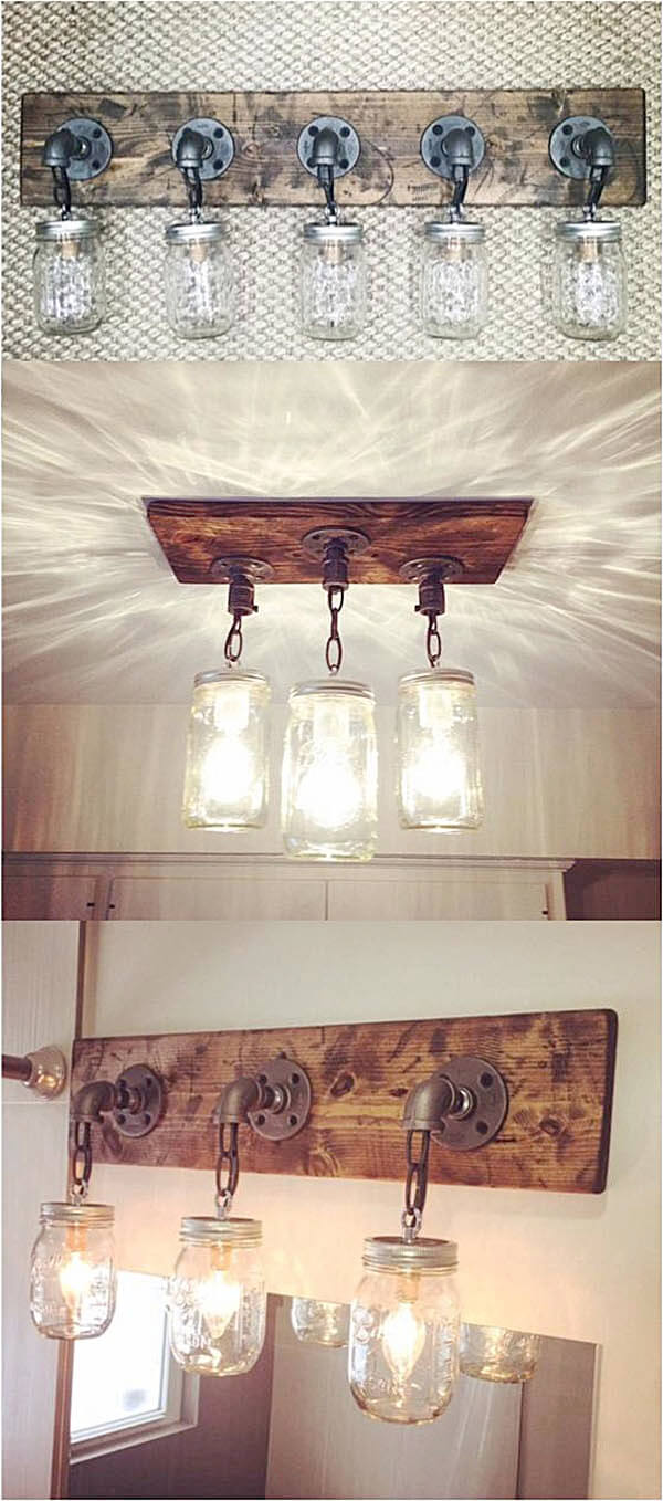 36 best farmhouse bathroom design and decor ideas for 2018 diy mason jar light fixtures arubaitofo Gallery
