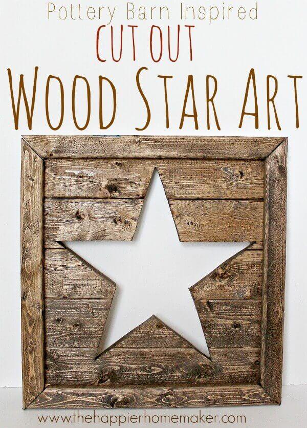 Rustic Cutout Wood Star Art