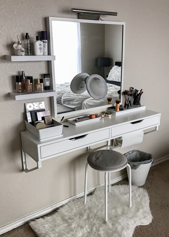 19 best makeup vanity ideas and designs for 2018. Black Bedroom Furniture Sets. Home Design Ideas