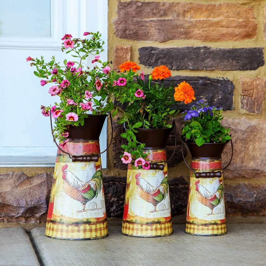 Rustic Decorated Metal Pitcher Planters