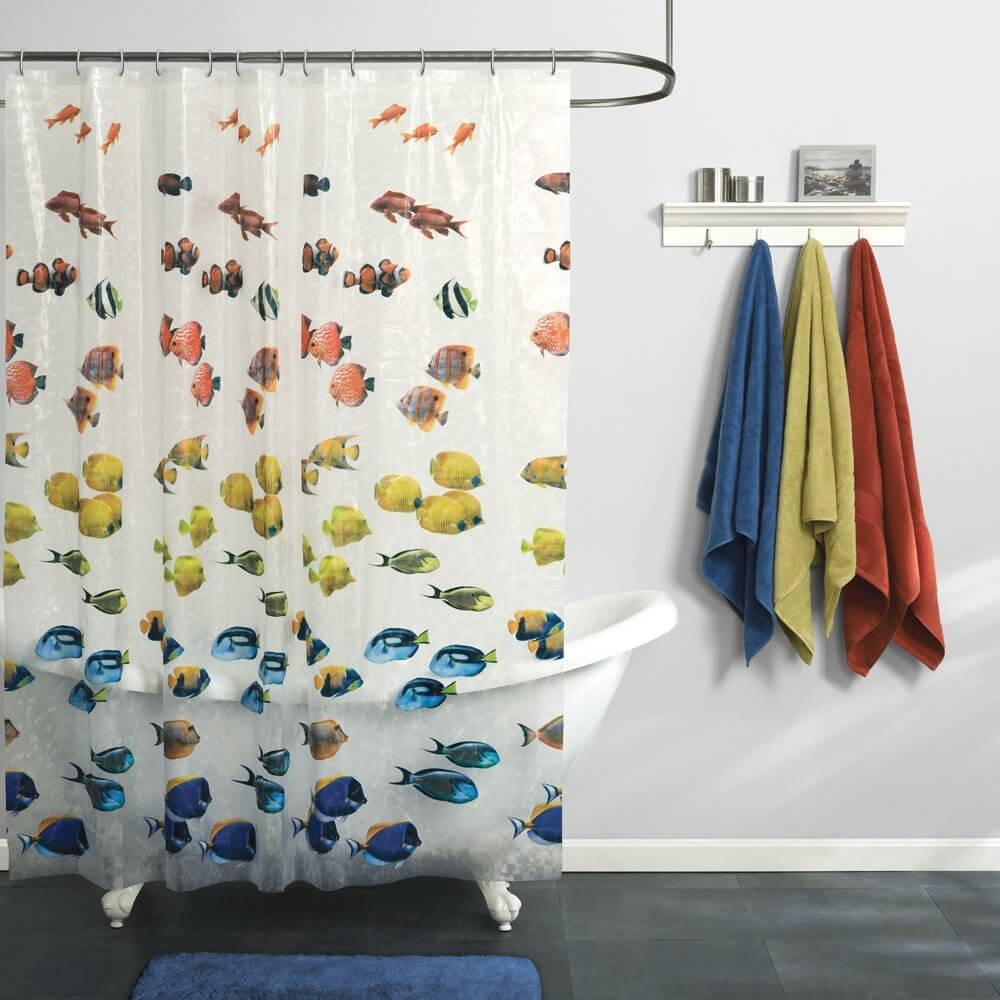 Fish shower curtains for kids - Fish Fun Shower Curtain