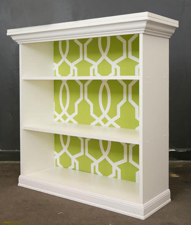 9 classic white storage with wallpapered back panel - Diy Bookshelf