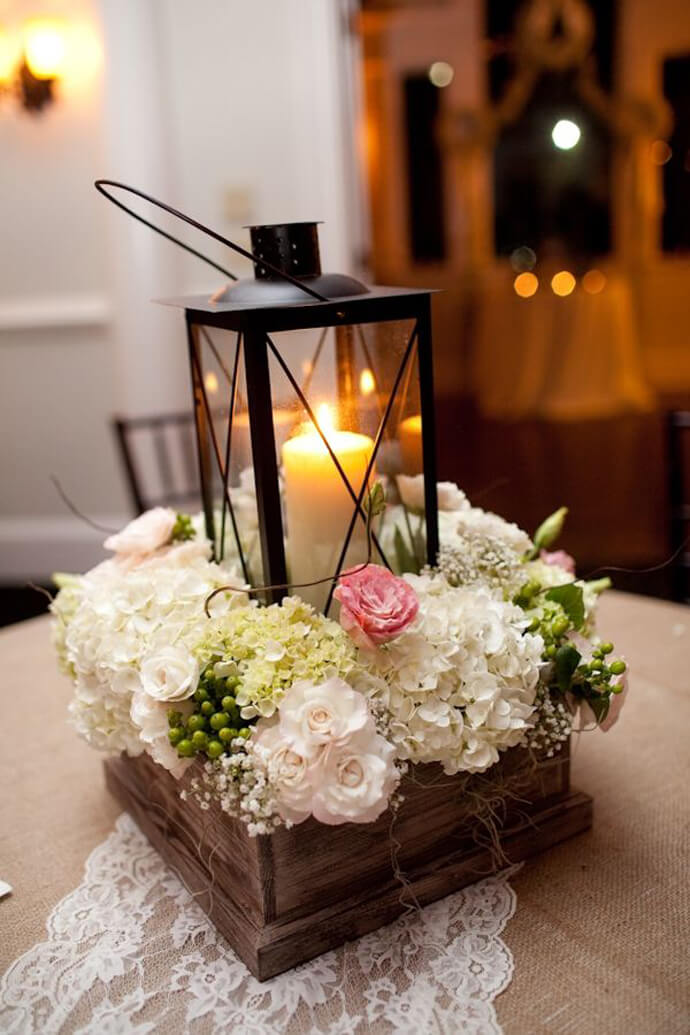 Elegant Lantern with Flowerbox Border