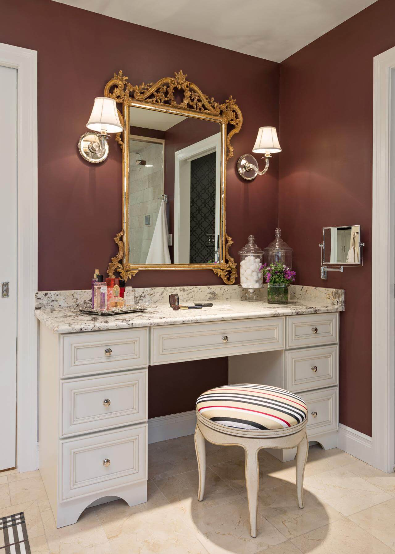 Delightful Marble Topped Vanity With Baroque Style Mirror