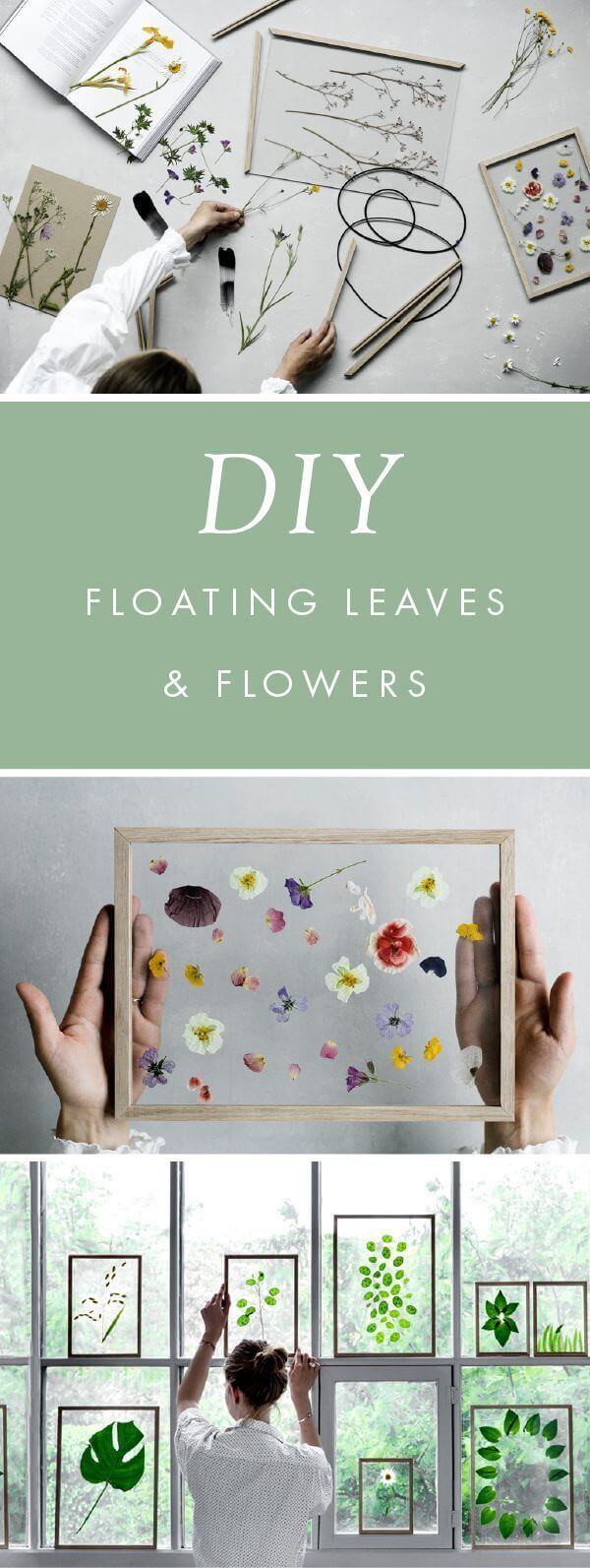 """DIY """"Floating"""" Flowers and Leaves"""