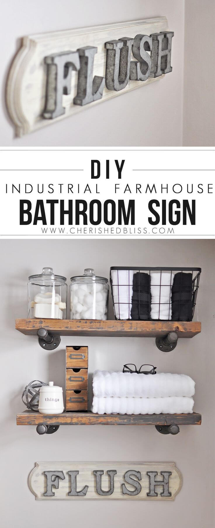 DIY Farmhouse Bathroom U201cFlushu201d Sign