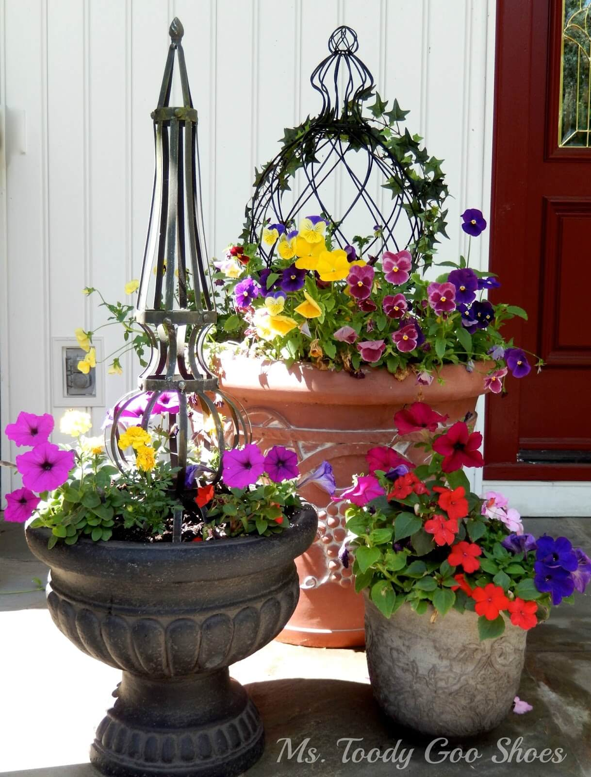 Eclectic Summer Flower Pot Trio