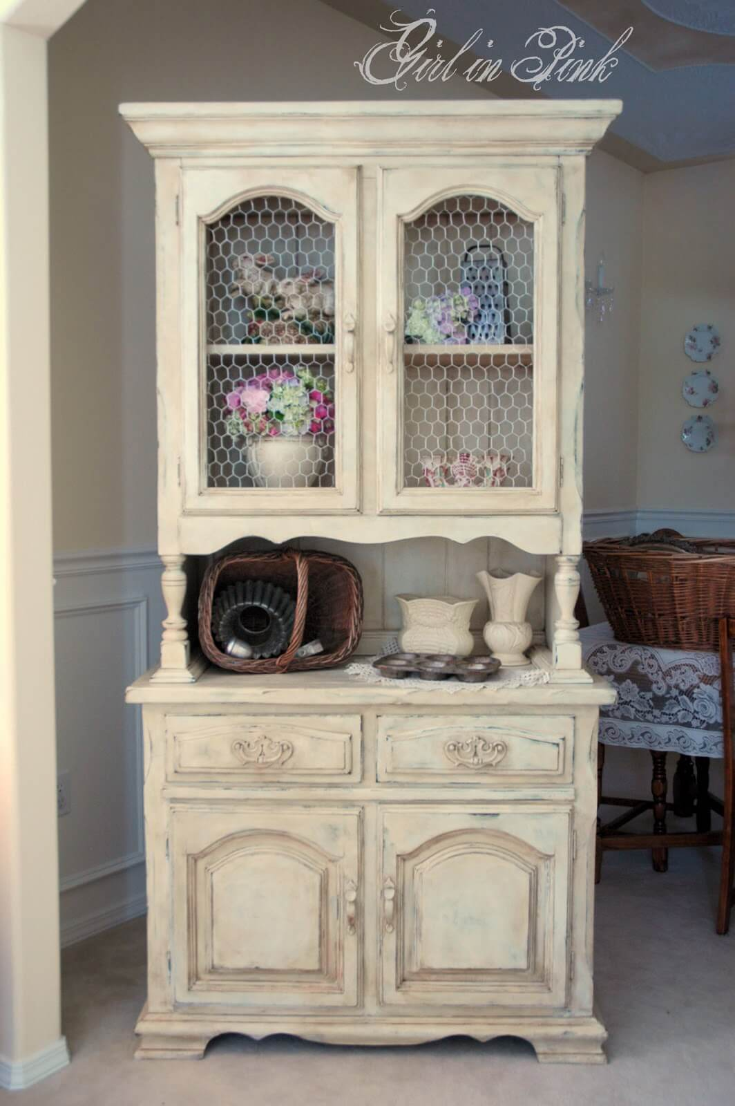 An Old Fashioned Cupboard For Plates And Decor