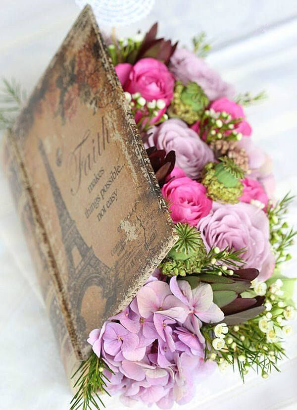 Blooms Bursting Between the Covers Bookish Centerpiece