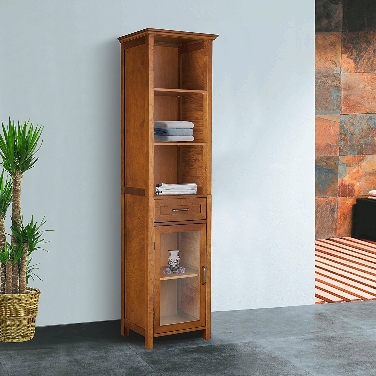Elegant Home Fashion Anna Linen Cabinet with Drawer and 3-Shelf : linen storage cabinet furniture - Cheerinfomania.Com