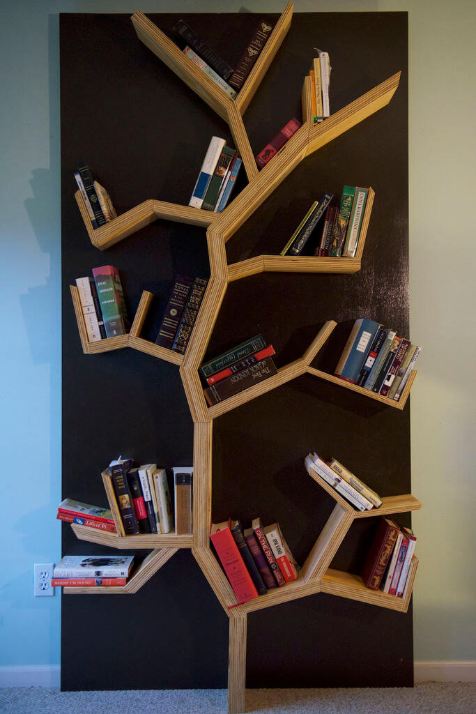 Bookshelf Ideas Part - 31: 12. Earthy Asymmetrical Sandwiched Design