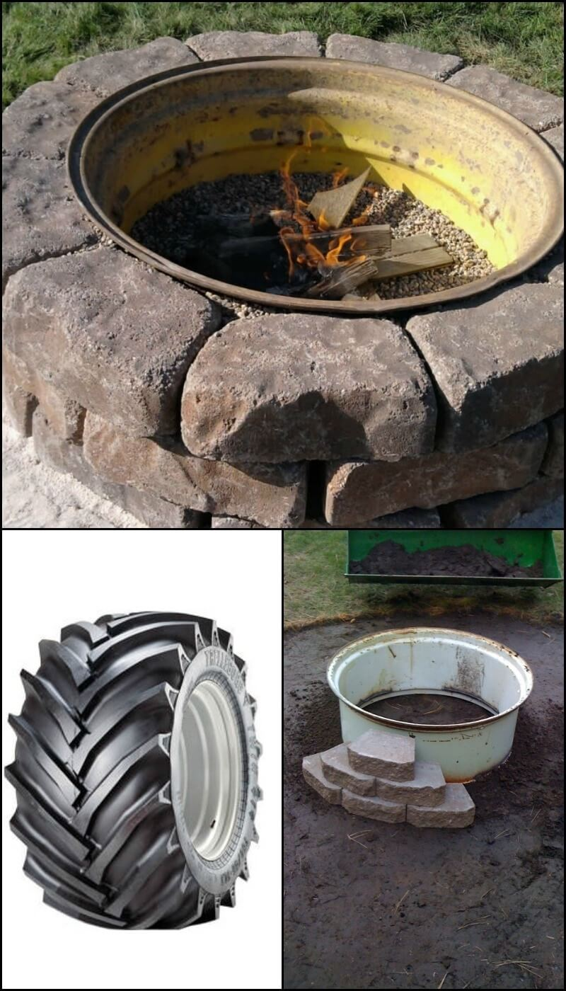 Upcycled Truck Wheel and Stone Firepit