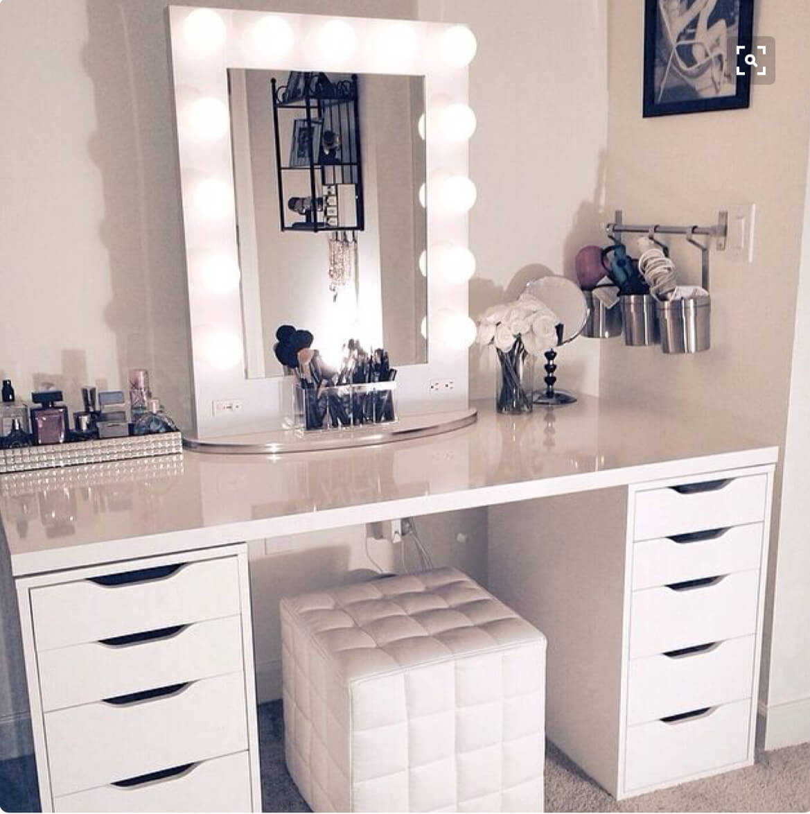 Monochrome White Vanity And Framed Mirror