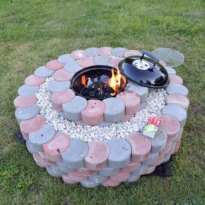 Barbecue Grill Set in Blocks and Stones