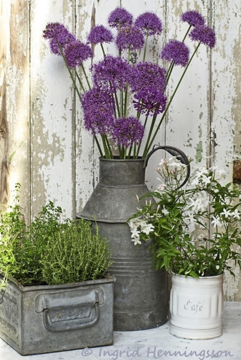 Rustic Galvanized Metal Porch Planters