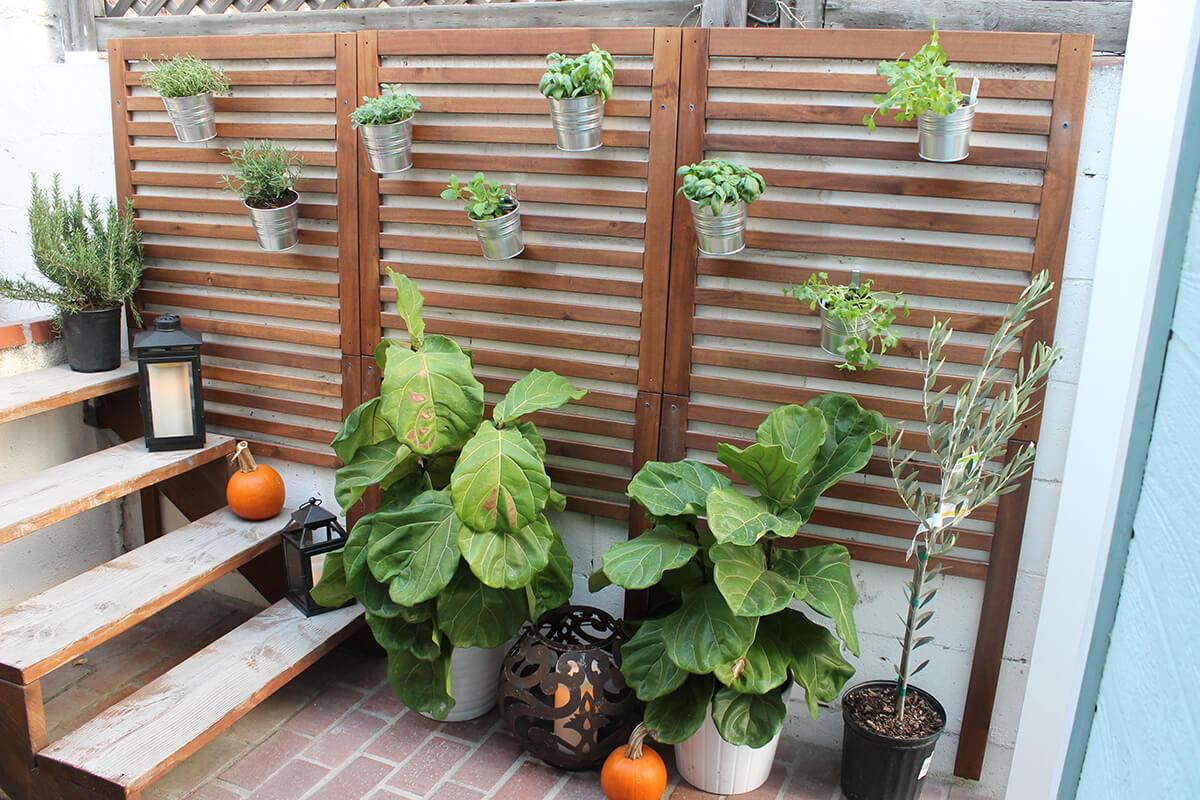 Vertical Wooden Slat Garden for Patio
