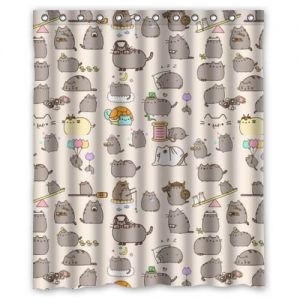 pudgy cartoon cat curtain - Cat Curtains
