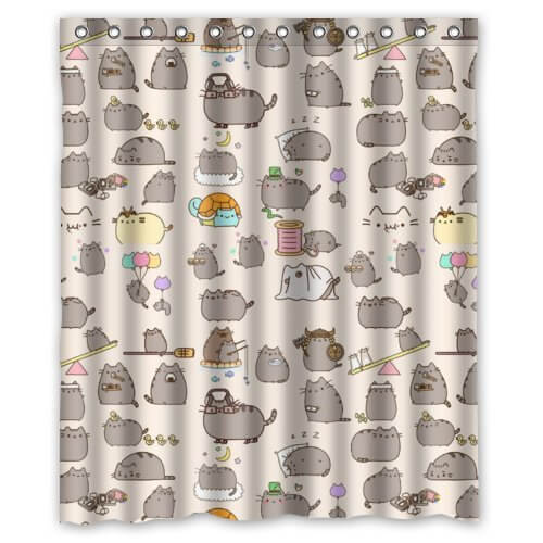 Pudgy Cartoon Cat Curtain