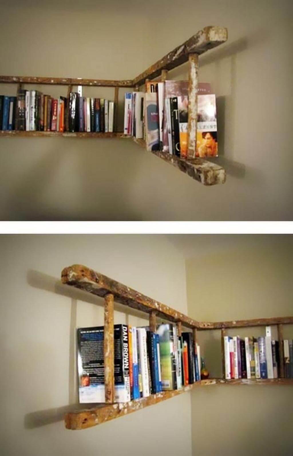 Rustic Recycled Wood Ladder Horizontal Bookshelf