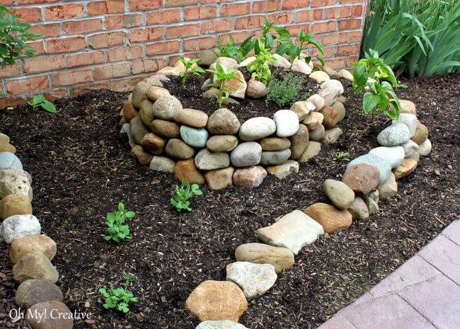 Spiral-Shaped Vegetable Garden of Stone