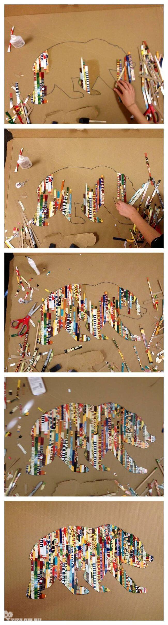 DIY Magazine Collage Bear Art