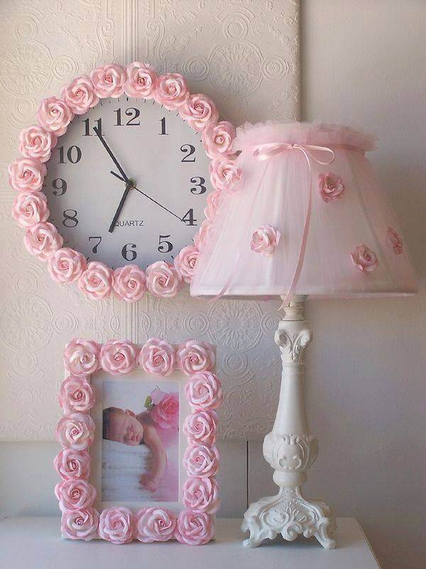 Diy Pink Rosette Shabby Chic Bedroom Accessories