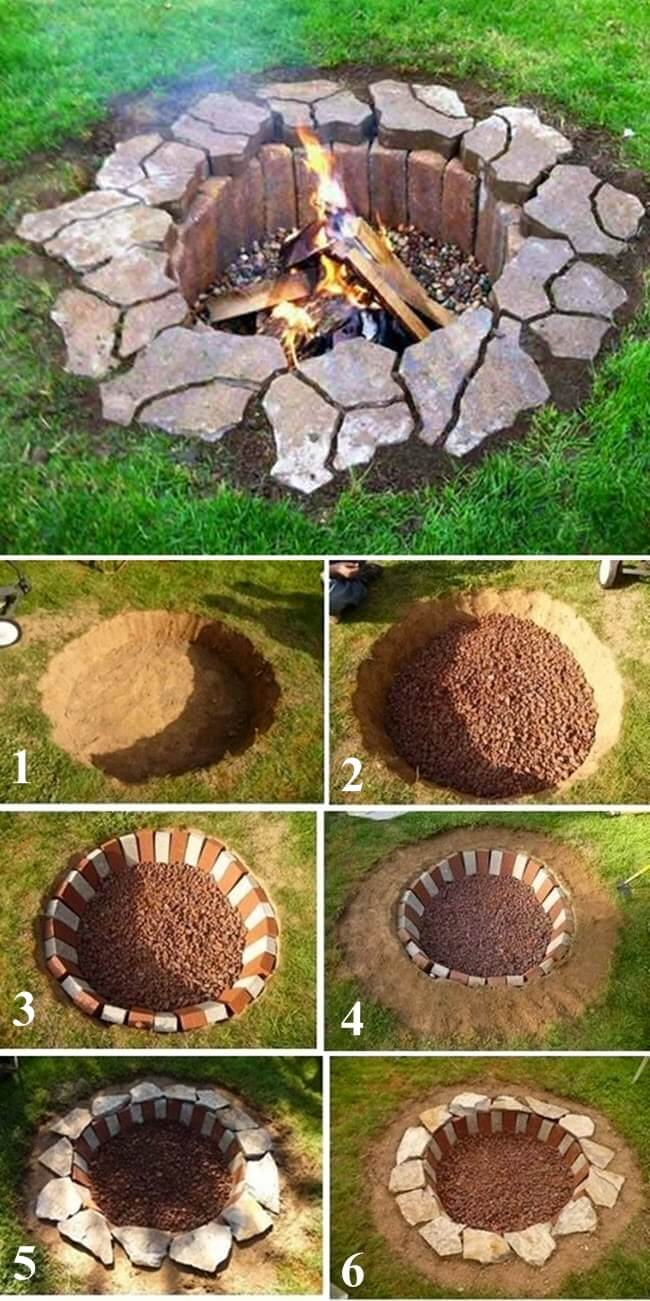 inground brick and stone firepit - Firepit Ideas