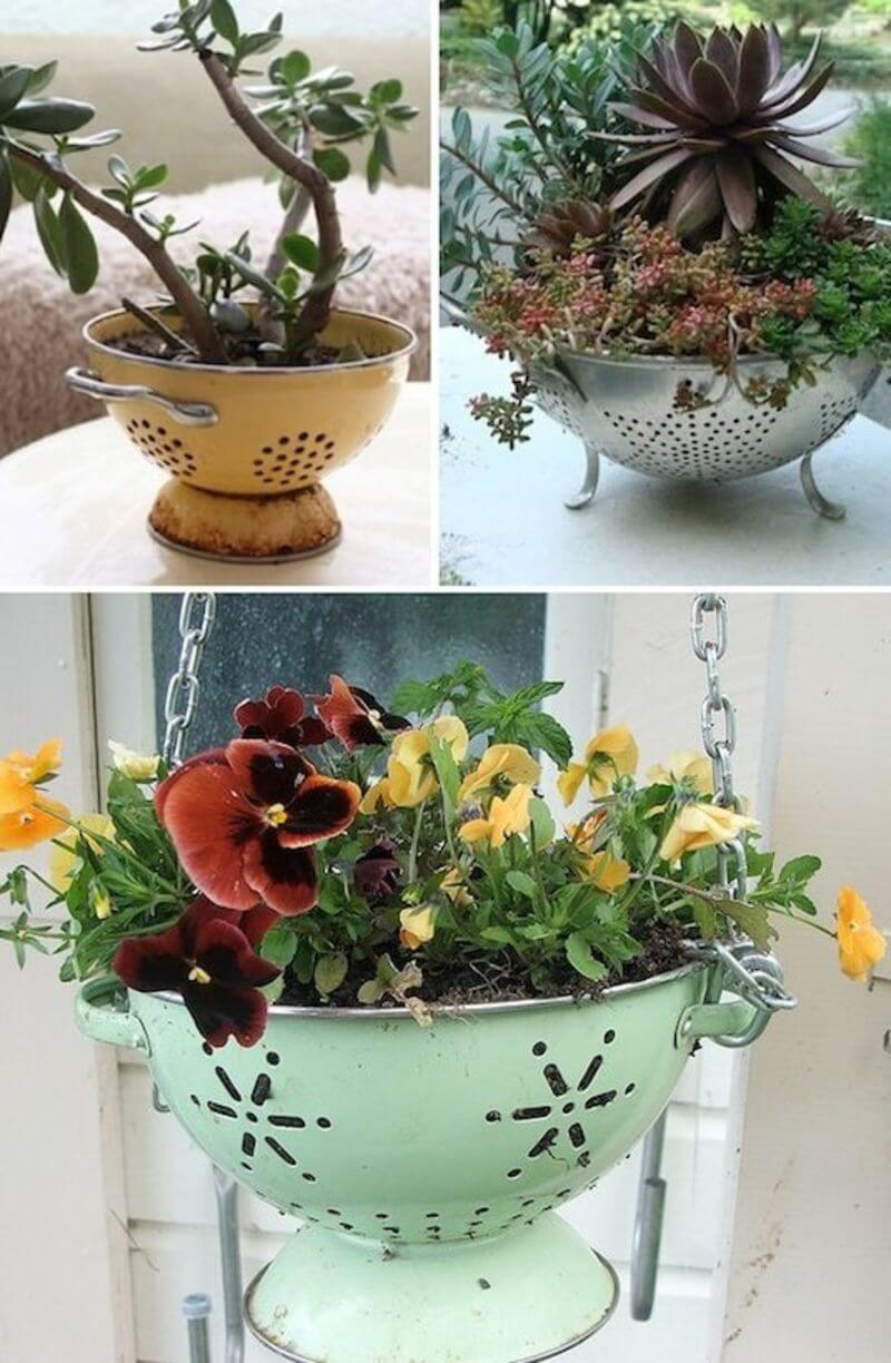 Cute and Easy DIY Colander Planter