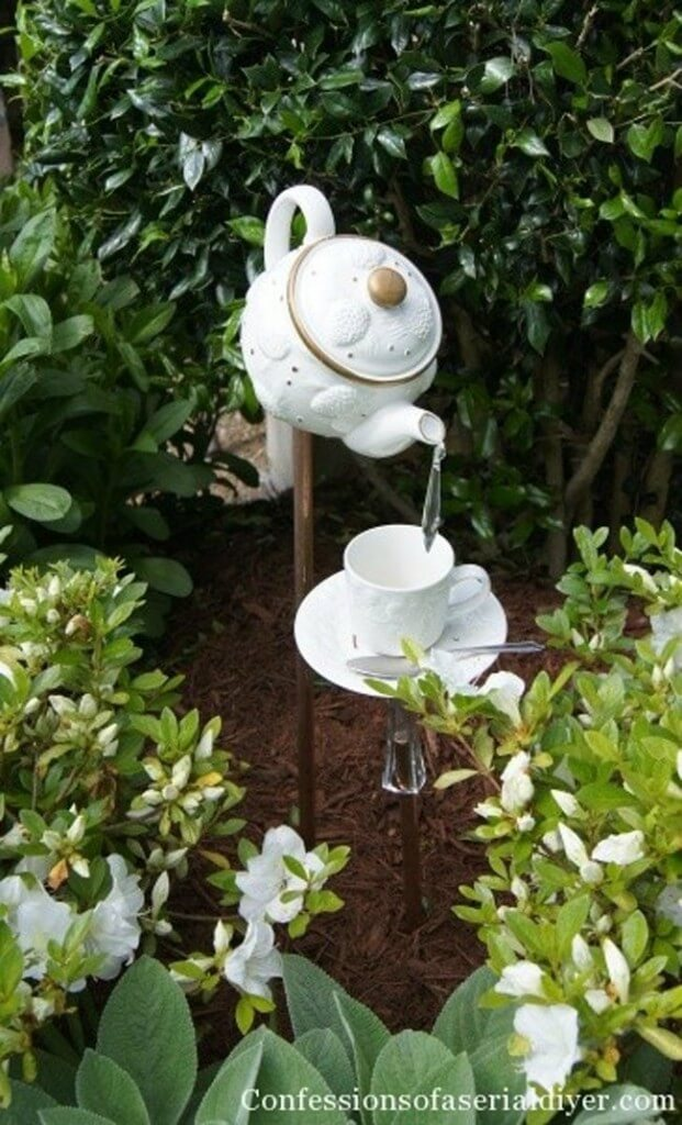 Teapot and Teacup Decorative Garden Stakes