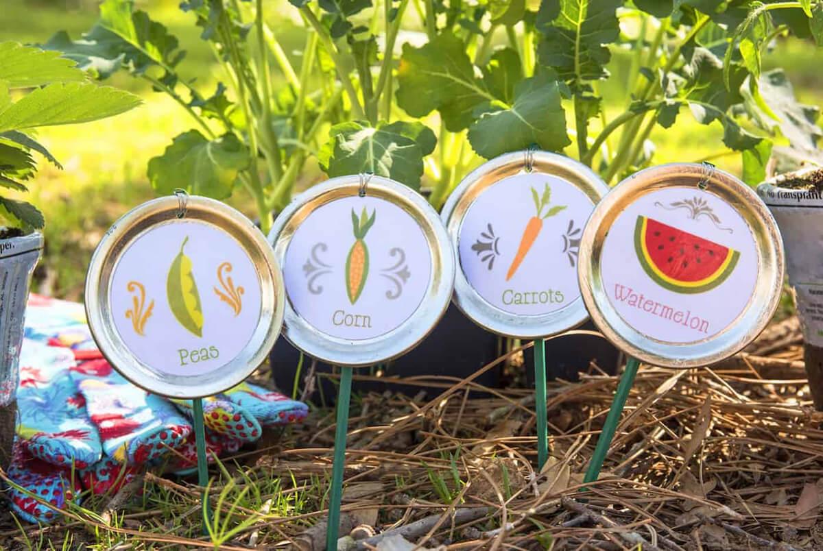 Mason Jar Lid Garden Stakes